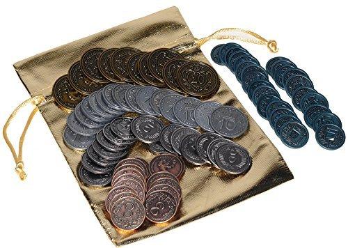Scythe Metal Coins _ Game Enhancement _ 80 Coins in Various Denominations _ Bonus Gold Metallic Cloth Drawstring Pouch_ Bundled Items