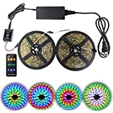 Led Strip Lights Sync to Music, 10M/32.8ft Chase Effect Led Lights Kit 5050 RGB Led Rope Lights Waterproof Led Lights Strip with 360 Degree Signals Accept RF Remote 12V AC Adapter Powered
