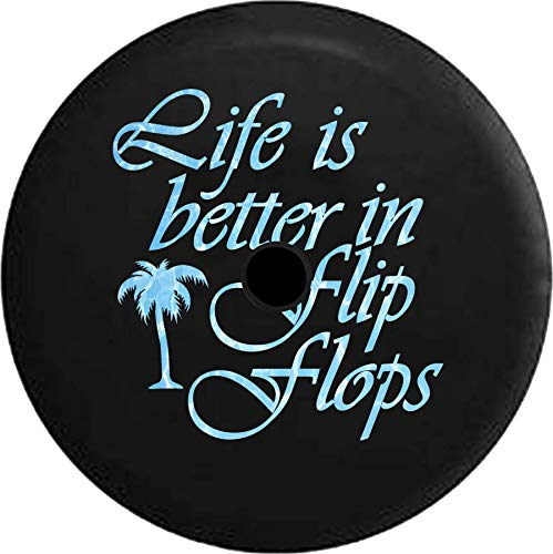 - JL Series Jeep Spare Tire Cover Backup Camera Hole Life is Better in Flip Flops Ocean Sea Life Palm Tree Black 32 in