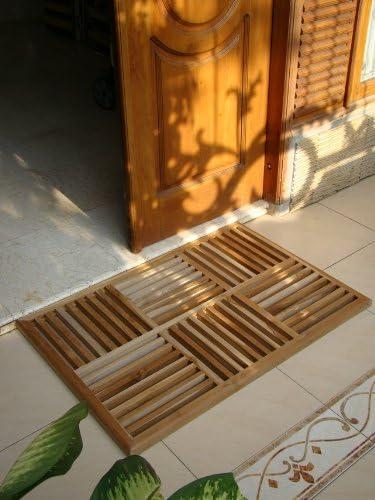 WholesaleTeakFurniture New Grade A Teak Wood 36 x24.5 Basket Weave Door Shower Spa Bath Floor Mat WFAXBWFM