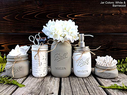 5 Piece Mason Jar Bathroom Set With Soap Dispenser. Mason Jar Decor Includes Soap Pump, Cotton Swab Holder, Tissue Holder, Toothbrush Holder, and Flower Holder. by Obsidian Home Creations (OHC)