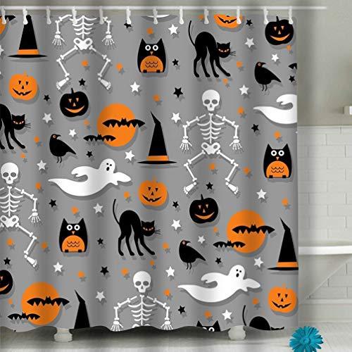 Xunulyn Shower Curtain - Kid Safe - Non Toxic and No Odors - Eco Friendly Heavy Duty Peva - Naturally Mold 60x72 INCH Halloween Orange Gray Halloween Orange Gray Charming -