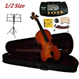 Merano 1/2 Size Student Violin with Case and Bow+Extra Set of Strings, Extra Bridge, Shoulder Rest, Rosin, Metro Tuner, Black Music Stand, Rubber Mute