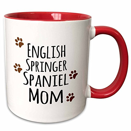 3dRose (mug_154114_5) English Springer Spaniel Dog Mom - Doggie by breed - brown muddy paw prints - doggy lover pet owner - Two Tone Red Mug, - Paw Print Spaniel Dogs