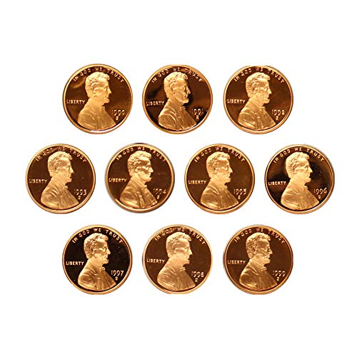 - 1990-1999 S Lincoln Memorial Cent Gem Deep Cameo Proof 10 Coin Run U.S.Mint