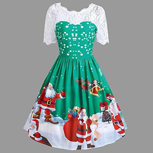 Lopily Retro 1950s Ball Gown Plus Size Women S Lace Splice Mesh Sheer See Through A Line Ruffle Santa Claus Print Christmas Swing Cocktail Party Dressgreenuk 16 Cn Xl Buy Online At Best Price In