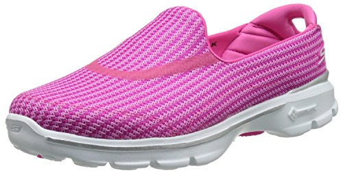 Skechers Go Walk 3 Pink Bianco Donna Slip On Scarpe
