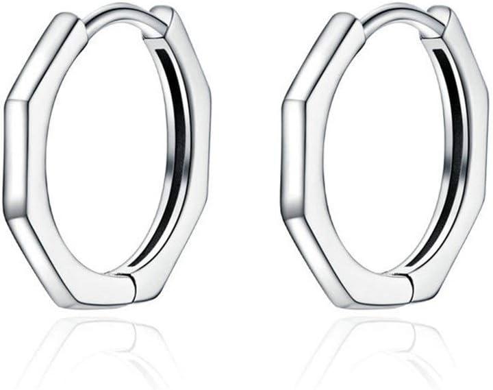 Lan Chen Minimalista geométrico del aro Pendientes for Las Mujeres auténtica Plata de Ley 925 del oído Pequeño Simple Aros de joyería Fina