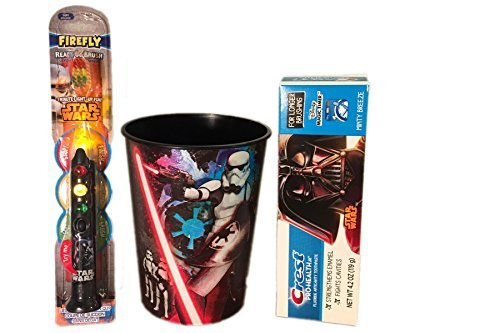 Star Wars Darth Vader 3pc Lightup Toothbrush Set 1) Darth Vader Lightup Timer Toothbrush by Firefly 2) Crest Pro-Health Jr. Kids Toothpaste 3) 16 oz Star Wars Rinse Cup (Kids Jr Toothbrush)
