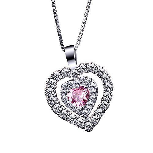 Heart Shape Crystal Statement Pendant Chain Necklace for Women Valentines Day - To A Face How Heart Shaped Have