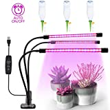 Sanatty LED Grow Lights for Indoor House Plants Light with Timer 3-Head 30W LED Bars 360 Degree Flexible Gooseneck 4-Level Dimmer 3-Setting Timer for Hydroponics and Greenhouse Growing