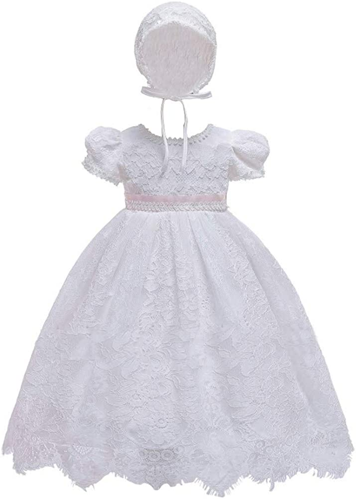 Bmeigo Baptism/Dress for Baby Girls Infant Christening Gowns Princess Lace Party Birthday Wedding Dress Outfit with Bonnet White