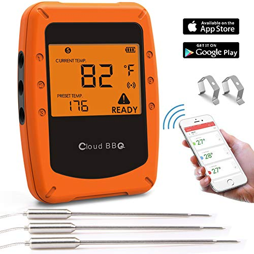 Wireless Meat Thermometers,Bluetooth Barbecue Grill Thermometer Smart BBQ Thermometer with 3 Stainless Steel Probes Remote Monitors for Cooking/Smoker/Kitchen/Oven/Grill, Support iOS and Android