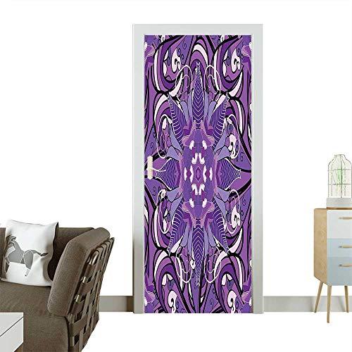 Homesonne Waterproof Decoration Door DecalsVintage Mandala Mehndi Style Universe Symbol in Philosophy Artwork Lavender Violet Perfect ornamentW38.5 x H77 -