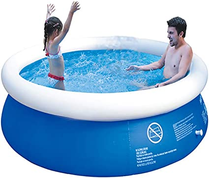 Inflatable Top Ring Swimming Pools Outdoor Ground Set Round Swimming Pool For Kids Or Adults Garden Lawn Blue 6 Ft X 29 In Garden Outdoor