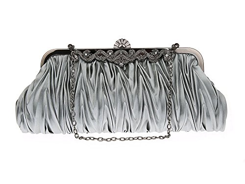 Small Party Shoulder 2 Grey Lantra and for Satin Women's Clutch with CW0002 Bag BESA Chains Wedding Evening Handbag Brown 6zY6Zwx