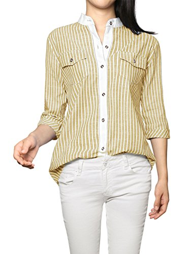 Allegra Rolled Sleeves Collar Striped