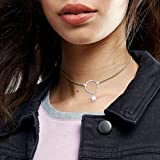 S925 Sterling Silver Choker Stars Ring Circle Short Pendant Necklace for Women Sister Wife Girl Lady Neck Simple Jewelry