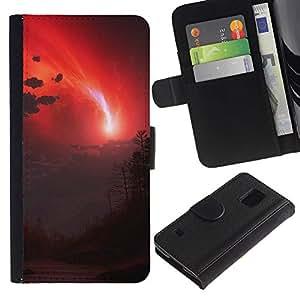 JackGot ( Red Sky ) Samsung Galaxy S5 V SM-G900 la tarjeta de Crédito Slots PU Funda de cuero Monedero caso cubierta de piel