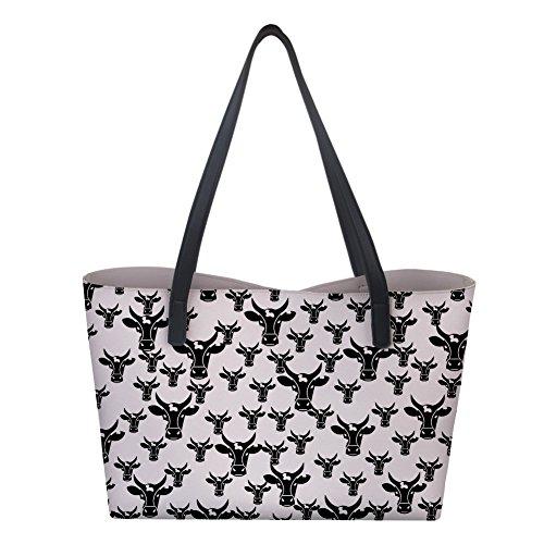 Shopping Top Animal Shoulder Bag 2 Bull Womens Leather Handle Designer Handbag PU Tote qpYwCp