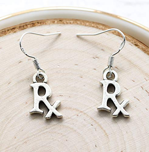 Rx Earrings - 925 Sterling Silver Hooks - Pharmacist Graduation Gifts for Her - Pharmacy Themed Gifts - Medical Jewelry - Fast Shipping