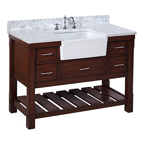 Charlotte 48-inch Bathroom Vanity (Carrara/Chocolate): Includes a Carrara Marble Countertop, Chocolate Cabinet with Soft Close Drawers, and White Ceramic Farmhouse Apron Sink For Sale