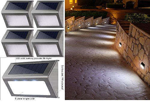 Solar Patio Lights 4 Pack 19 Lumens 3 LED Deck Step Lights Waterproof Outdoor Lighting for Walkway Stairs (Mailboxes Fence Mount)