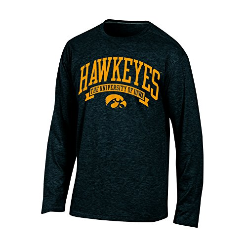 NCAA Iowa Hawkeyes Adult Men Long sleeve Crew Neck Tee, X-Large, Black Heather Iowa Hawkeyes Tailgate