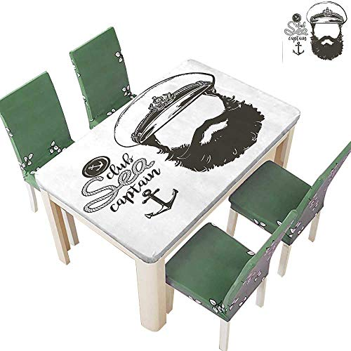 Printsonne Polyesters Tablecloth Portrait of a Faceless Captain with Hat and Beard Seaman Character Artistic Illustration Wedding Birthday Party 50 x 72 Inch (Elastic -