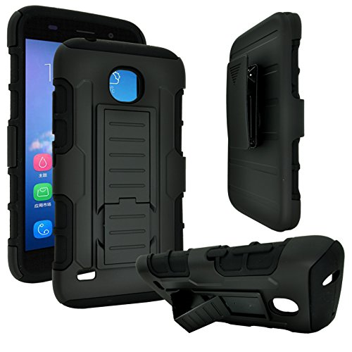 Huawei Union Y538 Case, Customerfirst, Shock Proof / Impact Resistant Holster with Belt Clip and Kickback Stand - Case Cover for Huawei Y538 Phone (Robot Black)
