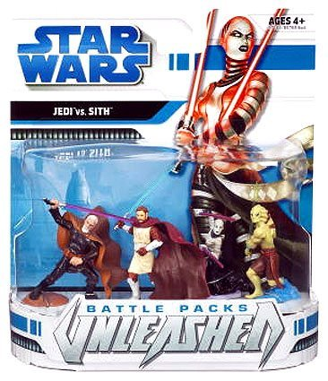 Star Wars 2008 Unleashed Battle Pack Figure 3-Pack Jedi vs. Sith (Fisto Wars Wars Clone Star Kit)