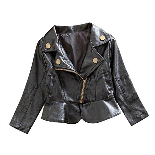 WuyiMC Spring Autumn Baby Girl's Motorcycle Jackets Leather Coat Bike Blazer (12-18 Months, Black) ()