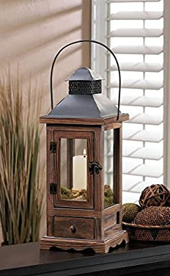 "Mount Vernon Small Wooden Lantern With Drawer 15"" Candleholder"
