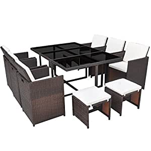 Patio Rattan Wicker Dining Set, Outdoor Dining Furniture set, Table 6 Chairs 4 Stools, Brown