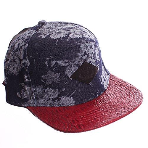 E-Flag Denim Floral 5 Panel Strapback Baseball Hat with Faux Alligator Visor - Red Bill