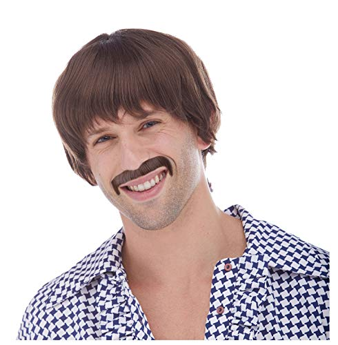 Brown 60's Hippie Sonny Bono Wig and Mustache Costume Set for ()