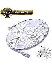 30m de Câble Réseau Blanc - CAT6 (amélioré) Câble Cat 6 Ethernet Plat 1000 Mo/s 350MHz - 100% Fil de Cuivre - Supporte Switch/Routeur/Modem/TV Box/PC/Xbox/PS3/PS4 - avec Cable Clips !!!