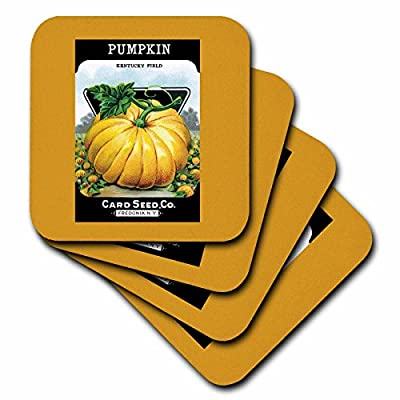 3dRose cst_170715_3 Pumpkin Kentucky Field Card Seed Company Fredonia Ny Ceramic Tile Coaster (Set of 4)