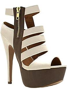 e5c4e5dd55f Runcati Womens Cut Out Ankle Boots Peep Toe Sandals Chunky Block Heel  Strappy Platform High Zipper