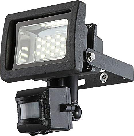 LED Foco exterior con detector de movimiento orientable de aluminio (Foco exterior, Lámpara,