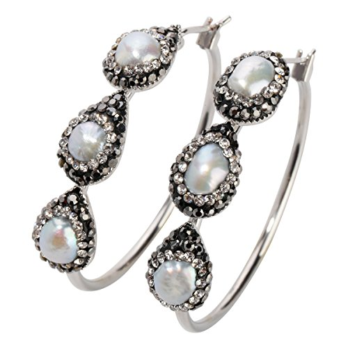 Tigers Round Crystal Earrings - Szxc Jewelry Women Crystal Tigereye Stone Mother Of Pearl Circle Round Endless Hoop Earrings 1.5