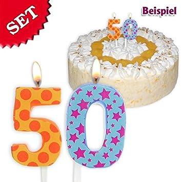 Velas Cumpleaños número 50, 2,5 cm: Amazon.es: Juguetes y juegos