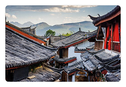 Lunarable Ancient China Pet Mat for Food and Water, Roofs of the Houses Ancient Chinese Tiles Scenic View in the Touristic Town, Rectangle Non-Slip Rubber Mat for Dogs and Cats, Multicolor ()