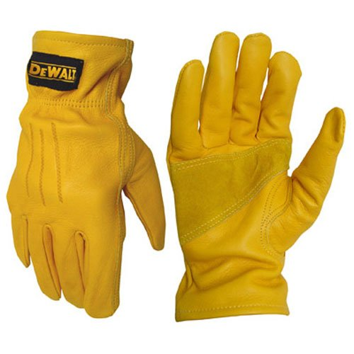 DEWALT DPG32XL XL LTHR Driver Glove, X-Large, Black/Yellow (Palm Glove Leather Dewalt)