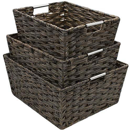 (Sorbus Woven Basket Bin Set, Storage for Home Décor, Nursery, Desk, Countertop, Closet, Cube Organizer Shelf, Stackable Baskets Includes Built-in Carry Handles (Set of 3, Chocolate))