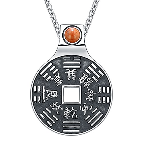 Yin Yang Lucky Coin Amulet BaGua Magic Kanji Forces of Nature Powers Red Jasper 18 Inch Necklace