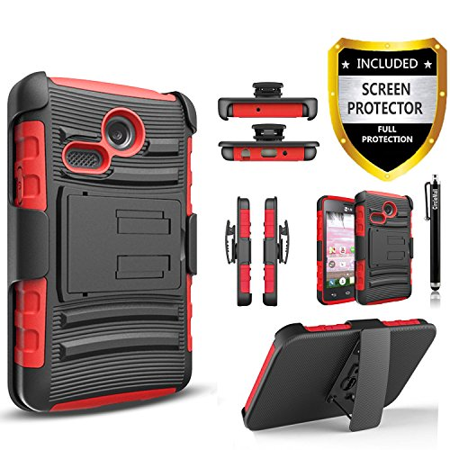 LG Sunrise Case, LG Lucky Case, LG L15G, LG L16C Combo Rugged Shell Cover Holster with Built-in Kickstand and Holster Locking Belt Clip Red + Circle Stylus Touch Screen Pen And Screen Protector