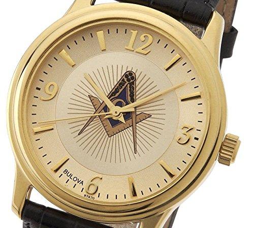 New Men's Gold Finished Bulova Masonic Blue Lodge Watch