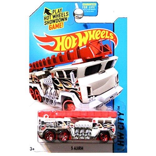 Hot Wheels 2015 HW City Works 5 Alarm Fire Truck Engine in White with Red Ladder ()