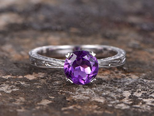 (6.5mm Round cut amethyst Solitaire ring,sterling silver and 18k gold plated,filigree promise ring,Stacking ring,Man Made diamond CZ ring,any)